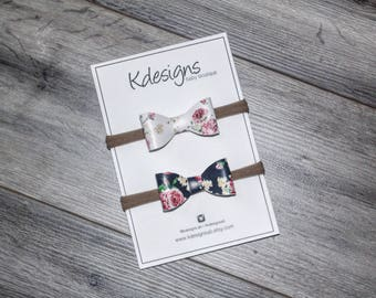 Floral Vegan Leather Bow