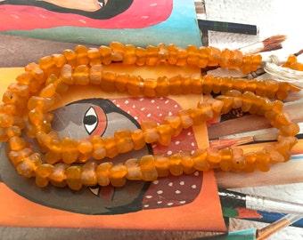 Orange Triangle Ghana Glass Beads, Recycled Buttercup Beads, Tribal Krobo Glass, African Trade Bead, 1 Str
