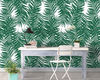 Winter Palm Leaves Removable Wall Covering Art Self-Adhesive Wallpaper