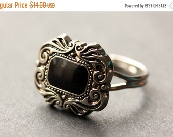 MOTHERS DAY SALE Gothic Ring. Button Ring. Black and Silver Ring. Goth Ring. Adjustable Ring. Black Ring. Handmade Ring. Goth Jewelry. Handm