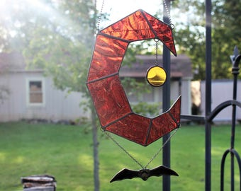 Stained glass suncatcher. Moon suncatcher. Moon, bat, sun stained glass. 10 inches Blood Moon Eclipse