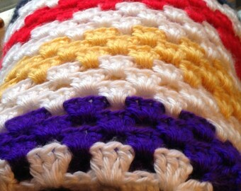 Crochet stroller cover, Handmade unisex Baby throw, Baby afghan, Navy, read, white, yellow, purple and brown colors it is very soft flowing