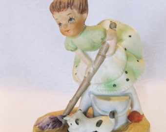 "Vintage ceramic girl and cat ""House work Help"" sweet face mid centruy 1060 figure"