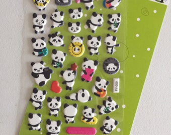 Panda Bear Puffy Stickers, Animal Deco Stickers, Scrapbook Stickers, Planner Stickers, Craft Stickers, Panda Lover Gift