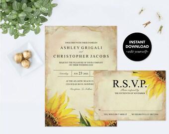 Summer Wedding Invitation, Customizable Text, Editable PDF Invitation Template, Sunflower Rustic, Wedding Invites, Instant Download, Fall