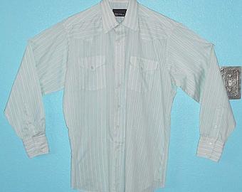 "80s90s ""Panhandle Slim"" White/Mint Stripy Cotton Blend LS Cowboy Shirt — Size XL"