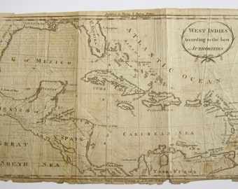 Original 1790's West Indies Map By A Doolittle For Morse's American Geography By Thomas & Andrews Boston - Free Shipping