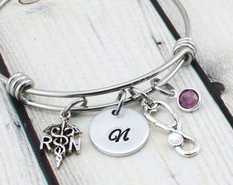 RN Nurse Bracelet - Nurse Gift for Nursing Student - Personalized Nurse Jewelry Gift - Gift for Nurse Graduate - Stethoscope Bracelet
