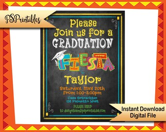 Printable Fiesta Graduation Party invitation, graduation chalkboard invitation, graduation fiesta graduation, class of 2017, grad invitation