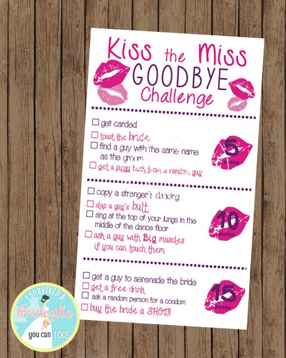 kiss the miss goodbye bachelorette scavenger hunt