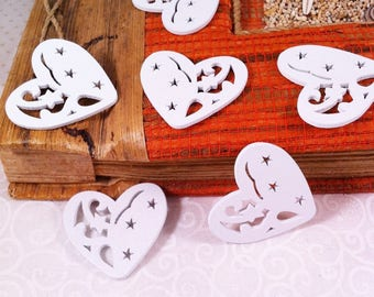 6-cut wooden hearts, stars and rounded, painted white, light