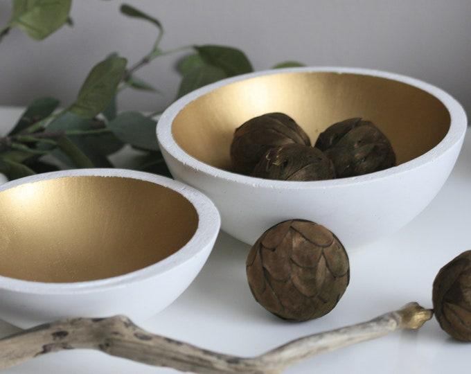 White Concrete Decorative Bowl | Display | Display | White & Gold | Urban | Industrial