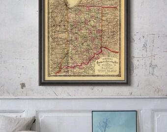Indiana State Map 1875, Indiana State, Indiana Map, Vintage Map Print- CP147