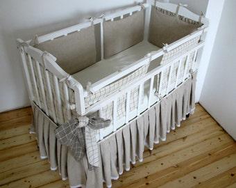 Crib bumper, Linen Crib Bedding, Baby Crib Bedding - Custom color