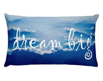 "Law of Attraction Rectangular Cushion  Pillow. ""Dream Big"" Blue"