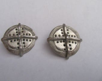 Gift Ideas Vintage Signed C. Stein  Unique Design Clip  On Earrings Silver Plated Metal  Possibly Silver over Pewter 1980