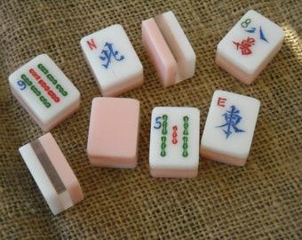 Triple Layer Mahjong - Mahjong Crafts - Colored Mahjong - Mahjong Tiles for Crafts - Mahjongg Supplies - Free Shipping - Pink Mahjong Tiles