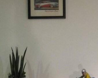 Framed postcard - old Buick