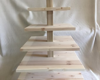 6 Tier Square Custom Made Solid Pine Cupcake Stand. Unfinished - Holds up to 148 Cupcakes