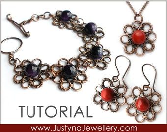 Wire Wrapping Tutorial, Bracelet Tutorial, Bangle Tutorial, Flower Jewelry Instructions, Wire Clasp Tutorial, Earrings And Pendant  Tutorial