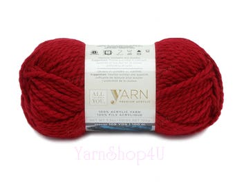 RED Bulky Yarn. All Things You Premium Acrylic. Solid Red, Dark Red. Soft Yarn. Lipstick. Same as Charisma Red. True Red is a brighter Red √