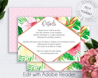 Tropical Wedding Details Card, Exotic Enclosure Card, Details Template, Wedding Info Card, Editable Details,Wedding Info,Floral Wedding Card