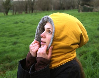 Yellow collar-hood - scarf hood warm and comfortable