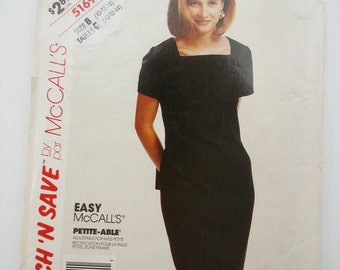 Square neck dress /fitted / work/ Mother bride dress / 1991 vintage sewing pattern, Sizes 10 12 14, Bust 32 34 36, McCalls Stitch Save 5169