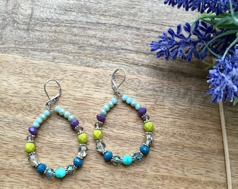 Beaded Hoop Earrings Bohemian Earrings Crystal Earrings Round Earrings Beaded Earrings Boho Earrings Long Earrings Boho Jewelry Boho Chic