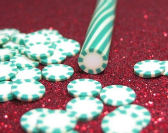 candy mint polymer clay cane kawaii holiday Christmas uncut 1pc for miniature sweets decoden and nail art supplies
