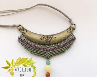 Macrame Handmade Boho Necklace, Gypsy Tribal Hippie Necklace, Festival Necklace, Big Necklace, Wedding Necklace, Goa, Gemstone Necklace