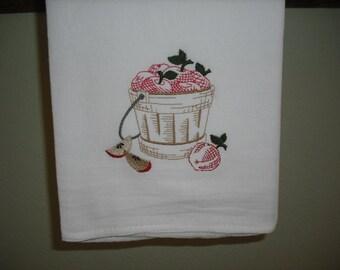 Vintage Style Apple Basket Flour Sack Towel. Machine Embroidered.