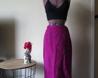 Classy fuchsia calf length winter skirt