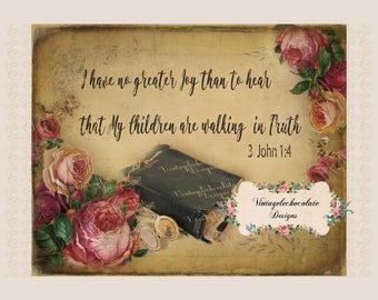 Digital Vintage Scripture Print, Antique Old Bible Printable, Bible Scripture Print, Printable Digital Art. No. 204