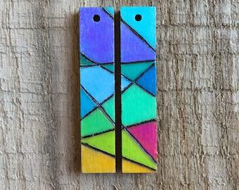 Geometric Wood Earrings (Stained Glass Look)