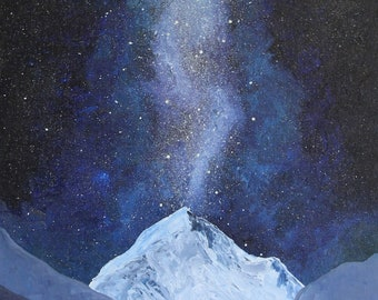 Oil Galaxy Mountain Painting