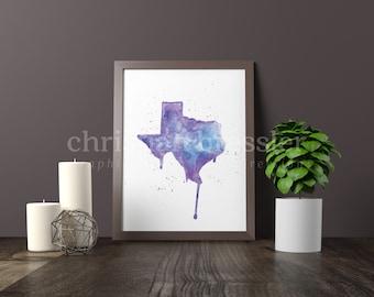 Texas Watercolor Digital Print