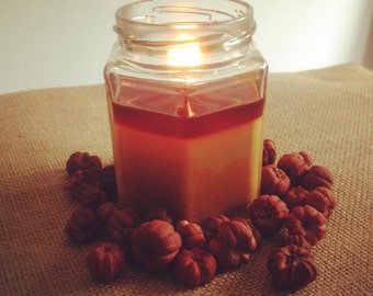 fall candle, Hexagon Jar Candle 9 oz, made with 100% Soy wax, Chrislan Candles