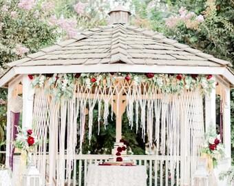 Altar Wedding Backdrop Boho Wedding Decor Macrame Photo Backdrop Rustic Wedding Garland