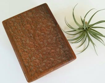 Vintage Wood Floral Carved Box