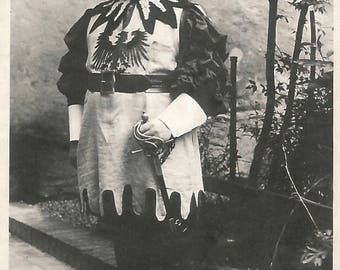 """Vintage Photo """"Gallant Knight"""" Portly Man In Costume Hat With Feathers Sword Scabbard Found Photo"""