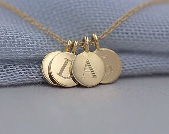14k solid gold four initials necklace personalized disc necklace