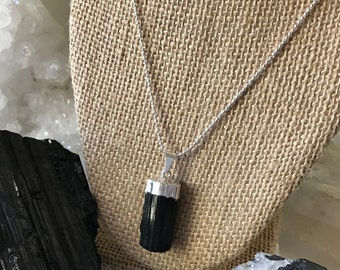 Black Tourmaline Necklace, Silver Dipped Black Tourmaline Pendant Necklace