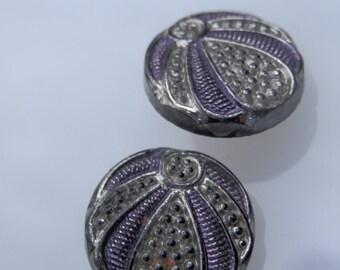PAIR Black Glass Buttons Violet