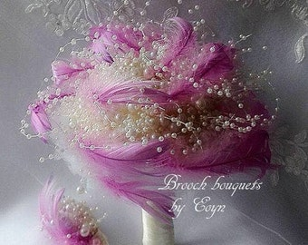Ready to send,Purple feathers and ivory pearls,Full Price,BROOCH BOUQUET,bride bouquet,wedding bouquet,broach bouquet bridesmaid