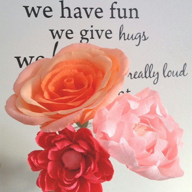 Wedding bouquet large crepe paper flowers house decor party zoom mightylinksfo