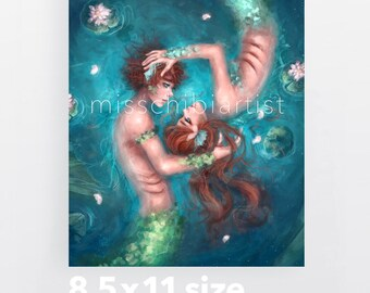 Mer Couple - Mermaid Digital Painting Art Print