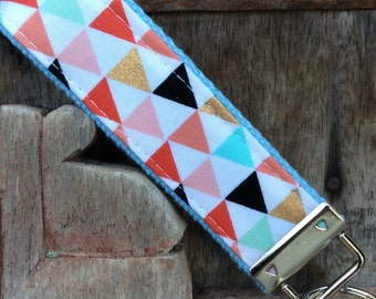 READY TO SHIP-Beautiful Key Fob/Keychain/Wristlet-Multi color Triangles on Blue