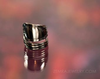 Stainless Steel Spoon Ring Rugged Upcycled Heavy Superior Stainless U.S.A. Flower Pattern US Sizes 7.75 to 8.25 Stainless Flatware Wrap Ring