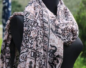 Elephant Scarf Boho Scarf Shawl Animal Scarf Bohemian Scarf Women Accessories Spring Summer scarf Elephant Shawl Scarf